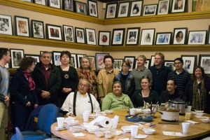 The TLAMers, Stockbridge-Munsee museum staff, tribal council members and others after a delicious lunch at the Arvid E. Miller Library & Museum on March 19.